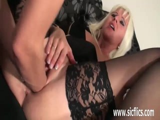 Platinum blond milf twin fisted more the brush twat