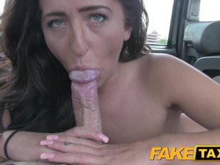 Fake Hansom cab Brunette little one gets creampied