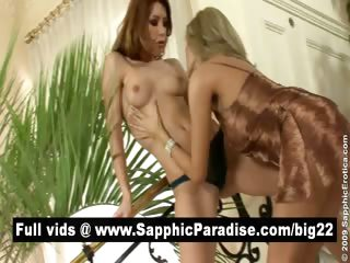 Sensual brunette and blonde lesbians fingering and having lesbian sex