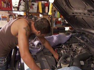 Hot MILF cock slammed on car