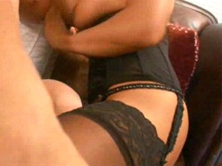 Two lingerie bitches doing one guy