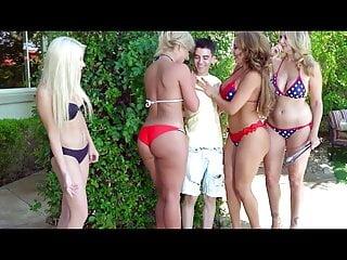 Skinny boy shagging two MILFs