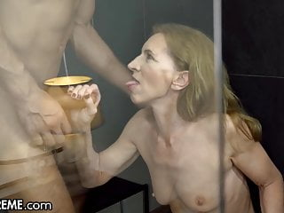 21Sextreme Gelatinous Granny Joined by Brace in Shower