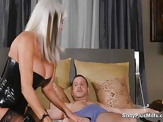 Anal Sexual relations With Big-busted 60yrs GILF who makes this young guy super hard soon alongside border on enjoyment from them mature tits