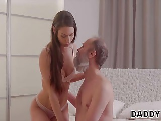 DADDY4K. Grey-haired cur' seduces sweet GF for his son...