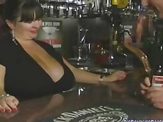 sex video BRITISH Grown up MEGA BOOBED BARMAID