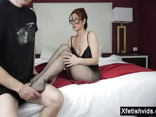 Hot mom footjob with respect to cumshot