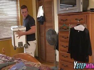 Stud bangs milf Jazmyn added to teen Stephani in threesome