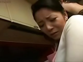 Hot Japanese Asian Mom fucks her Son hither Kitchen