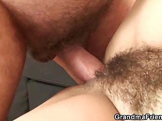 Their way hairy old pussy is toyed coupled with fucked