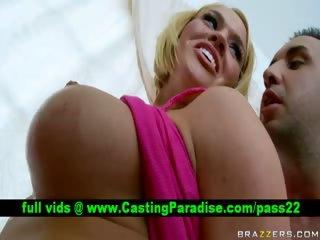Krissy Lynn busty big oiled babe does blowjob