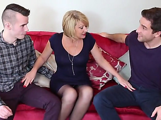 Hawt british mommy cum extend over by youthful sons