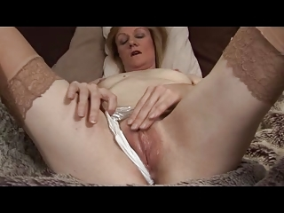 Terse Titties Mature Milf in Stockings Fingers and Toys